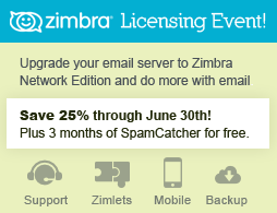 Save 25% on Zimbra licensing